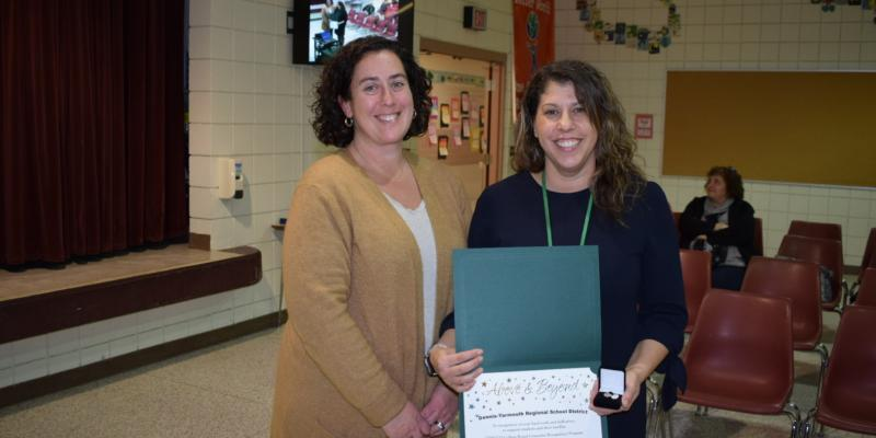 DY teacher/counselor Lisa Fedy 2020 College Board Counselor Recognition Program Recipient With School Committee Chair Jeni Lande